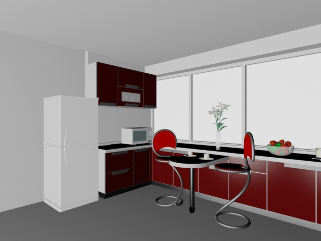 Red U Kitchen Design 3d Model 3dsmax Files Free Download Modeling 16355 On Cadnav