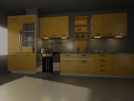 Luxury orange galley kitchen design 3d model