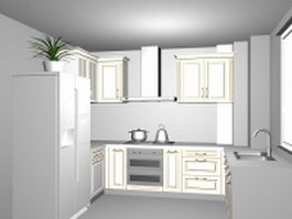 Small kitchen room design 3d model