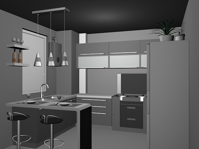 Small Kitchen With Counter Design 48d Model 48dsMax Files Free Amazing Comercial Kitchen Design Model