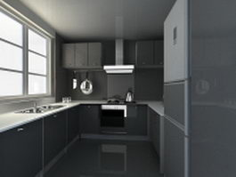 U kitchen design plan 3d model
