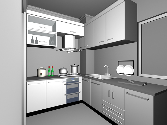 L Shaped Kitchen Design 3d Model
