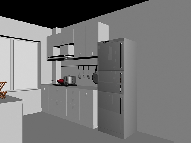 Small kitchen design 3d model 3dsmax files free download for Two way galley kitchen designs
