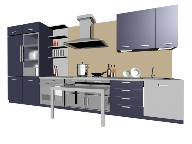 Single Line Kitchen Cabinet 3d Model Part 43