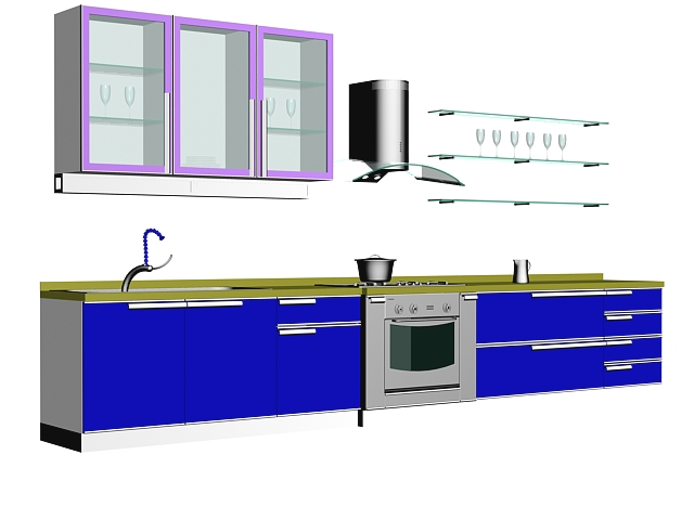 line kitchen design 3D model available in 3dsMax, consist of blue