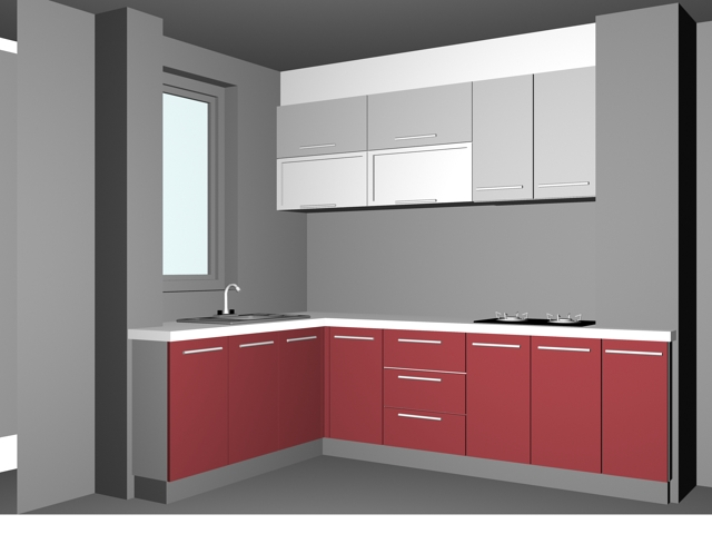 L Shaped Pink Kitchen Design 3d Model