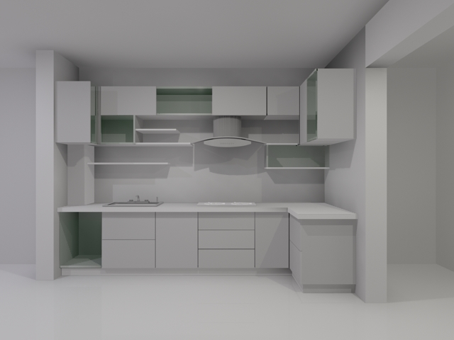 L Shaped Kitchen Cabinet 3d Model 3dsmax Files Free Download