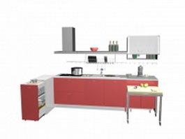 Small pink kitchen design 3d model