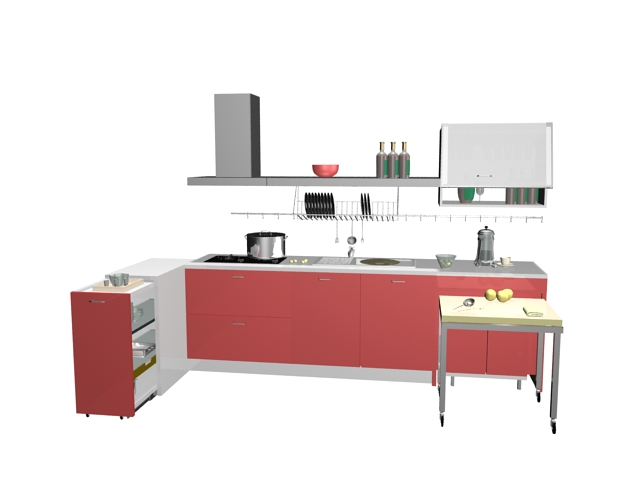 Small Pink Kitchen Design 3d Model 3dsMax Files Free Download Modeling 1639