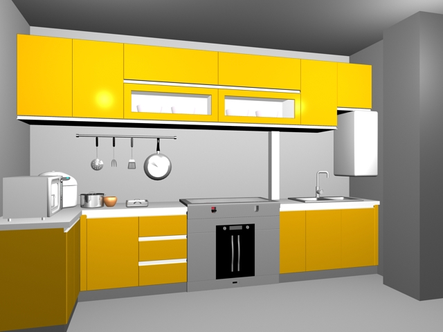 model of yellow kitchen units available in 3dsmax consist of kitchen