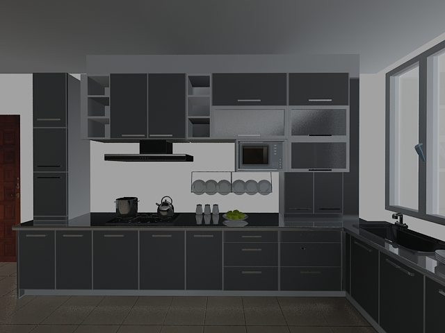 Gray Kitchen Design 3d Model 3dsMax Files Free Download