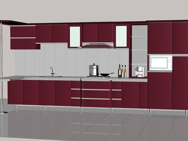 dark red straight line kitchen design 3d model 3dsmax