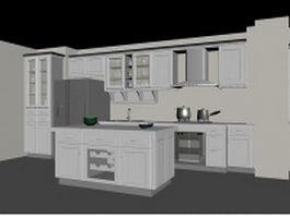 European block kitchen design 3d model