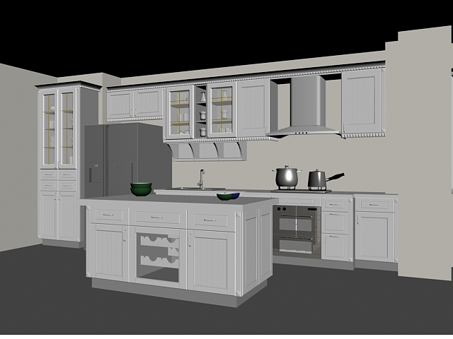 European block kitchen design 3d model 3dsMax files free download ...