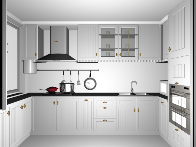 Small white kitchen design 3d model 3dsmax files free for Model kitchen design