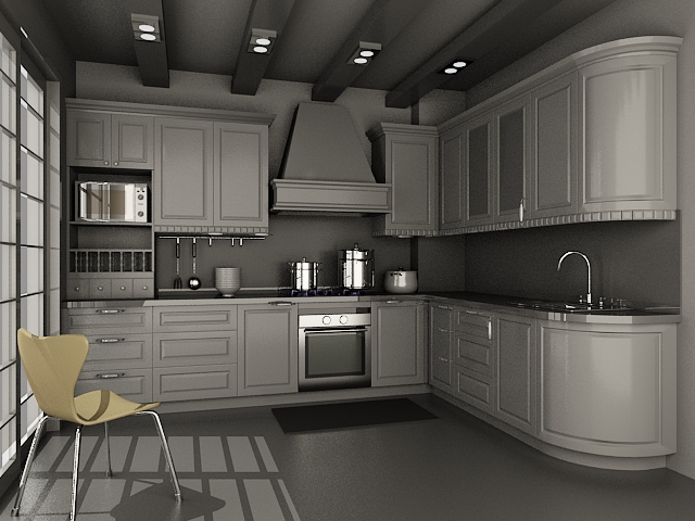Small kitchen units design 3d model 3dsmax files free for Kitchen unit design