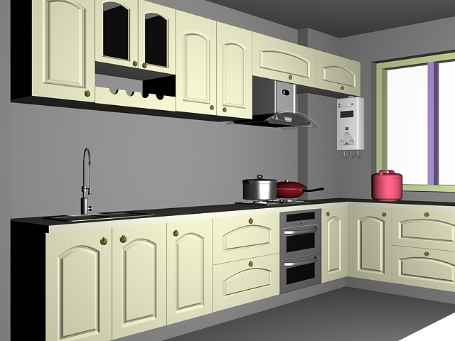 Green Kitchen Cabinets 3d Model
