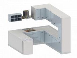 White G-kitchen cabinet 3d model