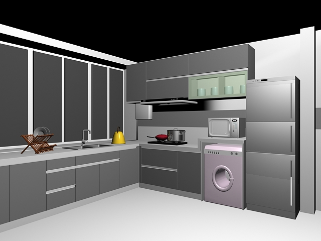 Gray kitchen cabinets 3d model 3dsMax files free download - modeling ...