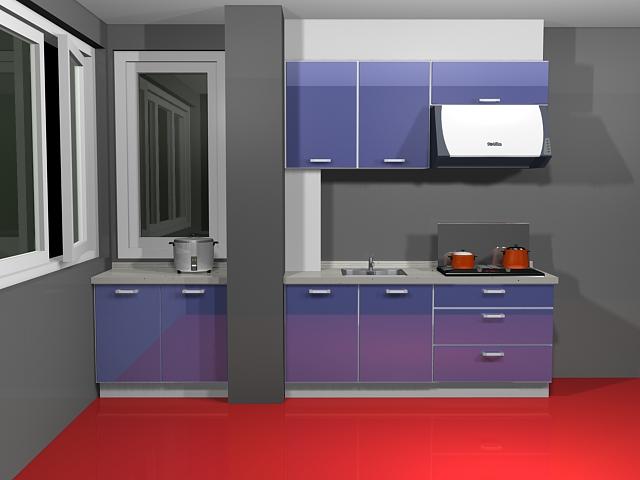 Single blue kitchen unit 3d model 3dsmax files free for Single kitchen wall unit