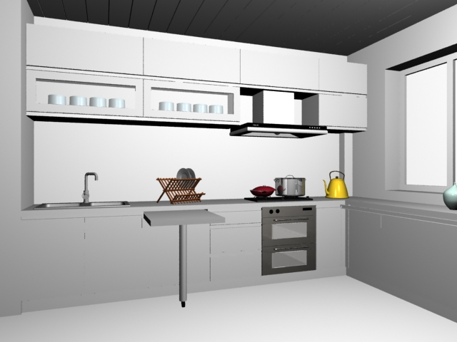 Small Kitchen Layout Design 3d Model 3dsMax Files Free Download Modeling 16