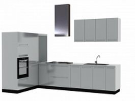 Modern kitchen layout design 3d model