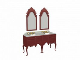 Double sink classic bathroom vanity 3d model