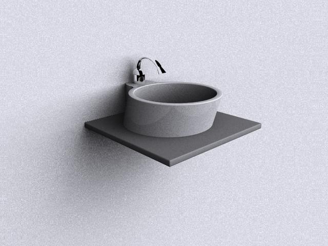 Wall hung corner basin 3d model 3dsmax files free download.