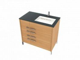 Wood basin cabinet 3d model