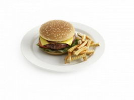 Hamburger and fries 3d model
