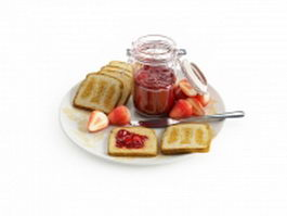 Breakfast toast with strawberry jam 3d model