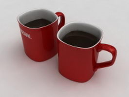 Two cups of Nescafe coffee 3d model