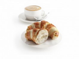 Croissant pastry and coffee 3d model