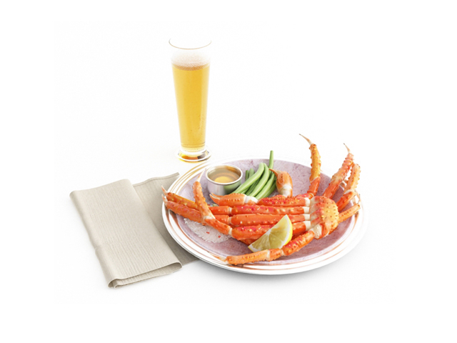 Steamed crab dishes with beer 3d model
