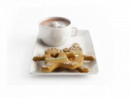Chocolate milkshake and biscuit 3d model