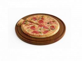 Big sausage pizza 3d model
