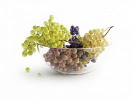 Table grapes in fruit bowl 3d model