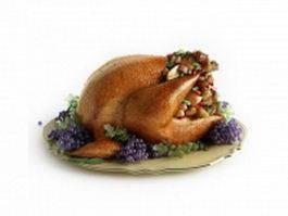 Christmas dinner of oven-roasted turkey 3d model