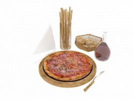 Italian pizza and wine 3d model