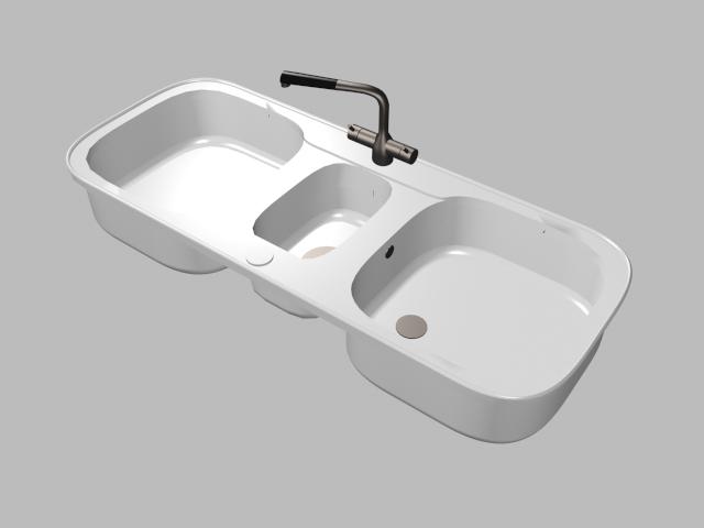 Double Bowl Kitchen Sink 3d Model
