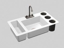 Single bowl sink with drainboard 3d model