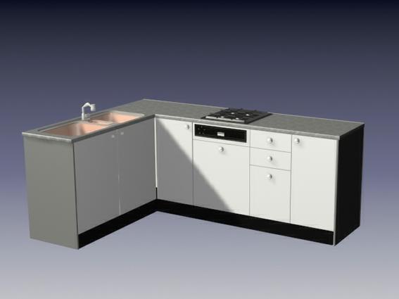 Small L Kitchen Cabinet 3d Model 3dsmax 3ds Files Free Download Modeling 16651 On Cadnav