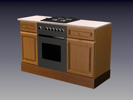 Superieur Gas Stove Wood Cabinet 3D Model