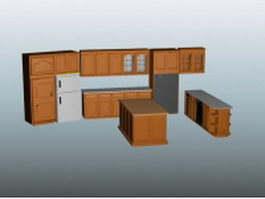 Open kitchen design with island 3d model