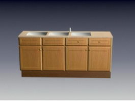 Kitchen sink cabinet with drawer and door 3d model