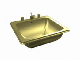 Brass sink basin 3d model