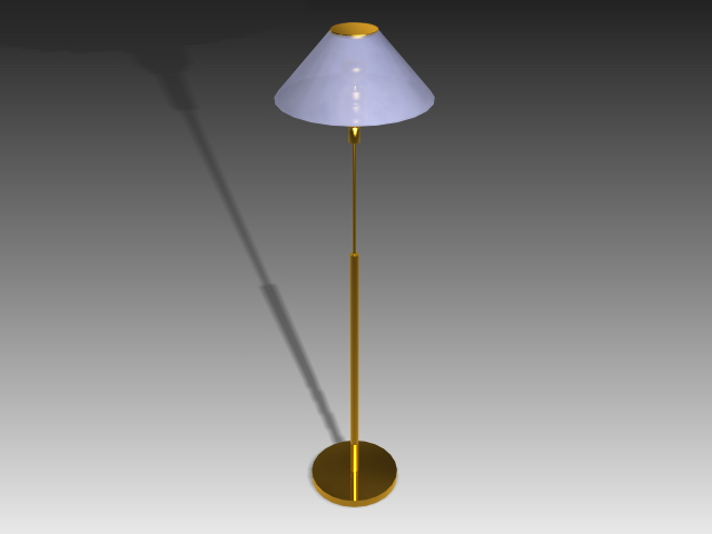 Modern brass floor lamp 3d rendering