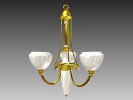 Brass chandelier and pendant light 3d model