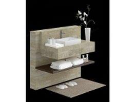 Bathroom vanity and accessories 3d model