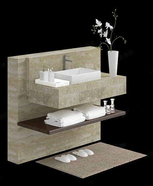 Bathroom Vanity And Accessories 3d Model